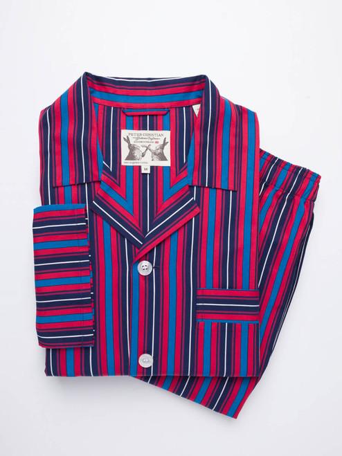 Navy & Red Organic Cotton Club Stripe Pajamas