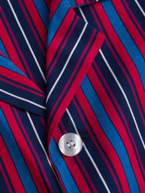 Button detail of Navy & Red Organic Cotton Club Stripe Pajamas