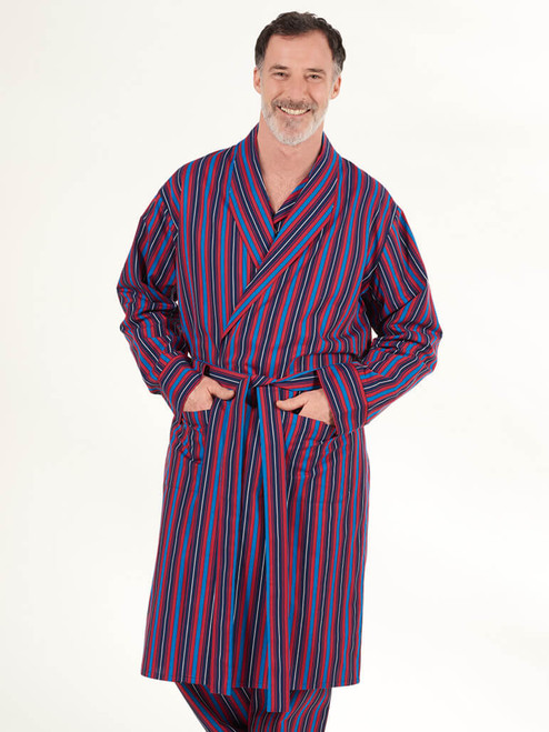 Model wears Navy & Red Organic Cotton Club Stripe Dressing Gown
