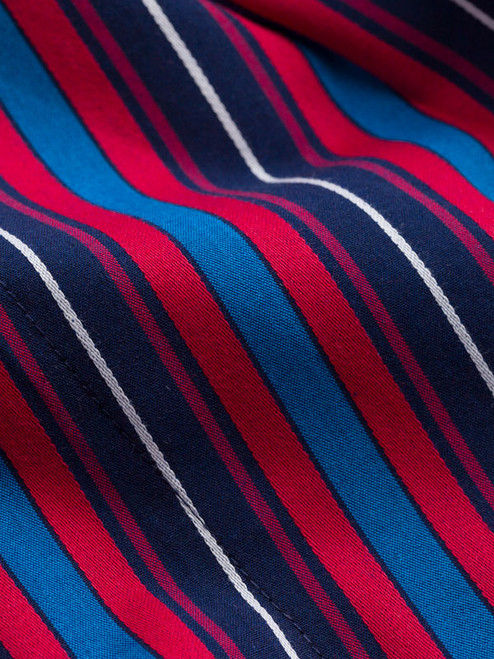 Fabric detail of Navy & Red Organic Cotton Club Stripe Dressing Gown