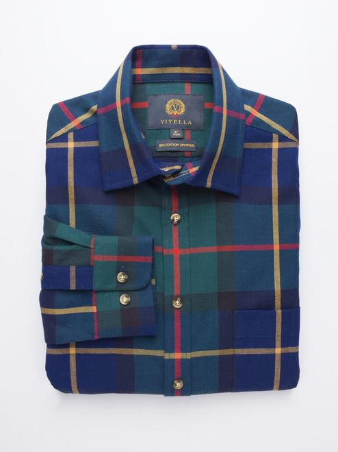 Navy Viyella Wool & Cotton Shirt