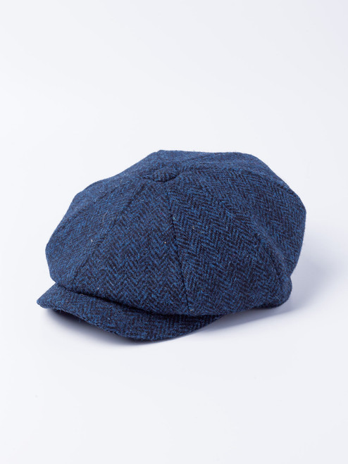 Blue Harris Tweed Baker Boy Cap