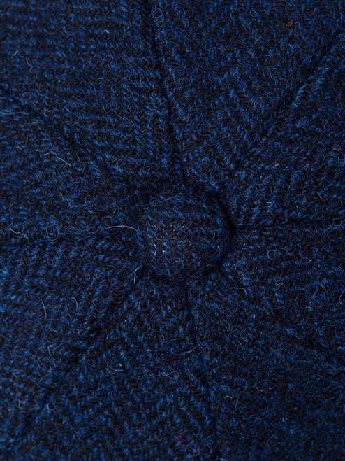 Blue Harris Tweed Baker Boy Cap