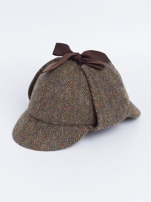Image of Mens Brown Sherlock Deerstalker Harris Tweed Hat