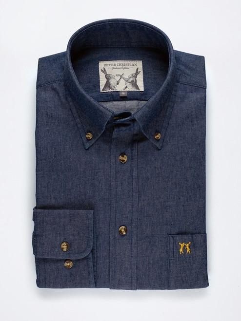 Dark Indigo Blue Long Sleeve Denim Shirt
