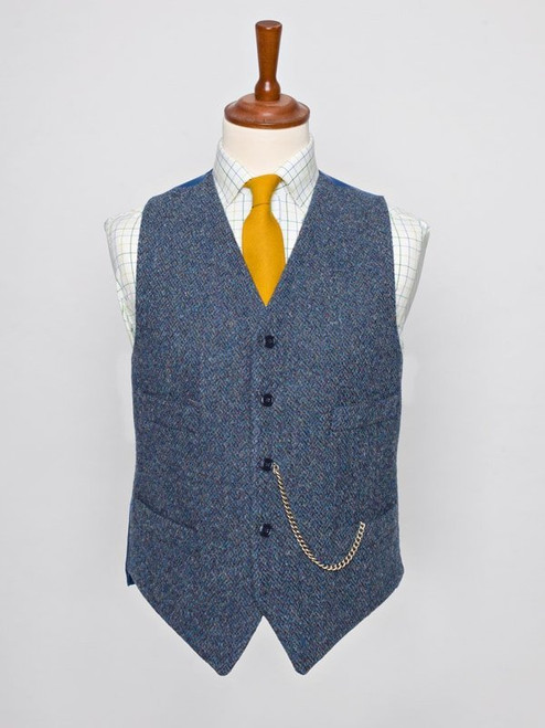 Image of Mens Blue Harris Tweed Vest