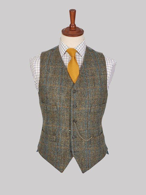 Image of Mens Bronze Brown Harris Tweed Vest