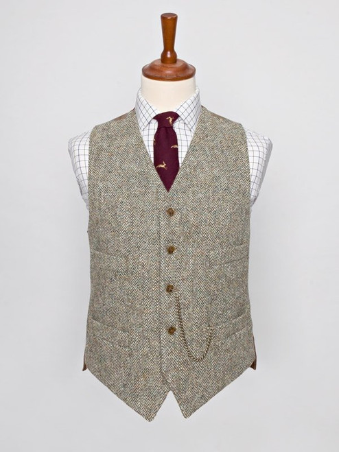 Image of Mens Oat Brown Harris Tweed Vest