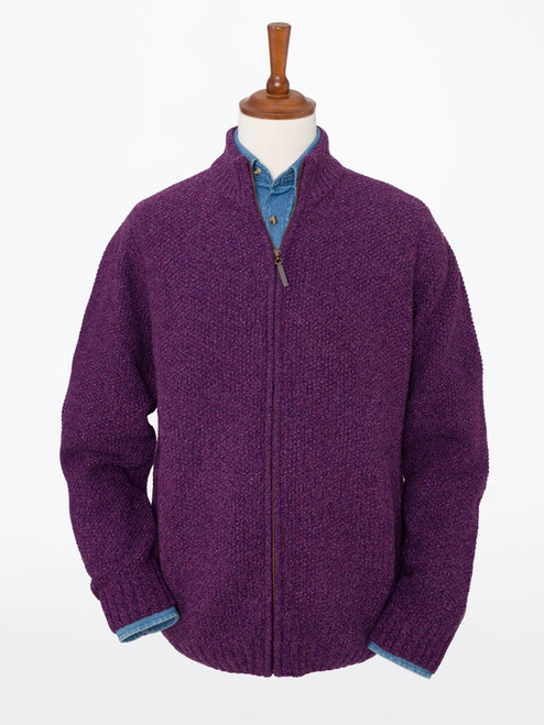 Grape Lambswool Zip-Up Cardigan