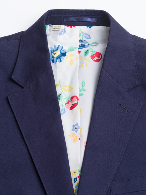 Close Up of Navy Chino Suit Jacket Collar