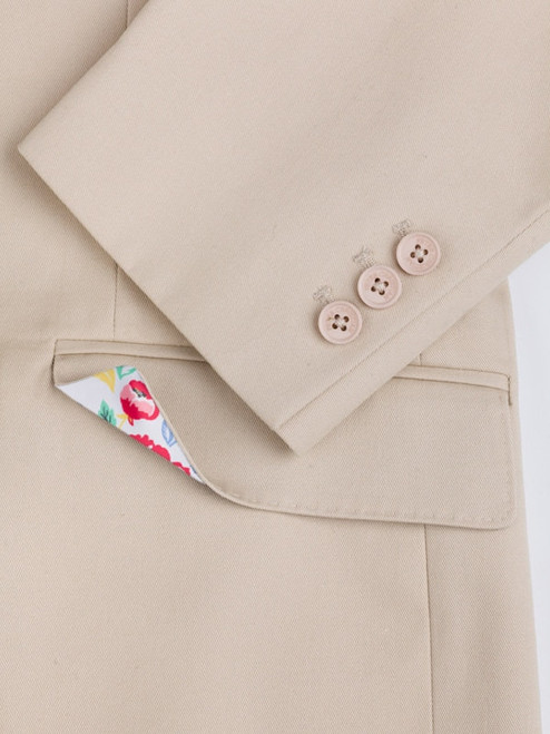 Close Up of Stone Chino Suit Jacket Details