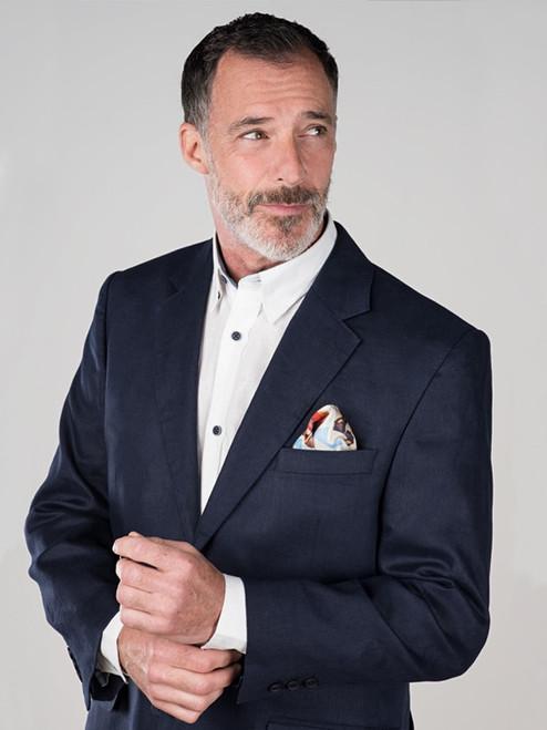 Model Wears Navy Linen Jacket