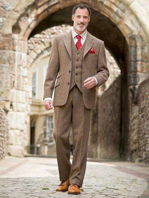 Model Wearing Mens Lichen Brown Harris Tweed 3 Piece Suit