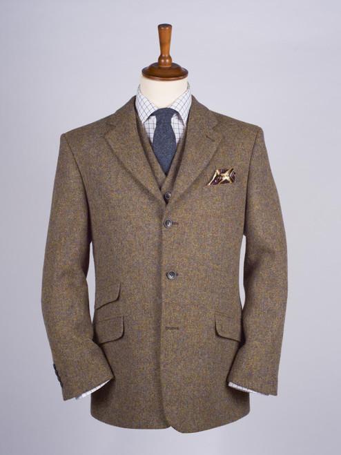 Image of Mens Lichen Brown Harris Tweed 3 Piece Suit Jacket