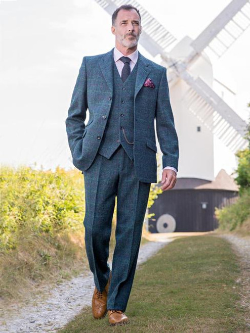Model Wearing Mens Marine Blue Harris Tweed 3 Piece Suit Lining & Orb