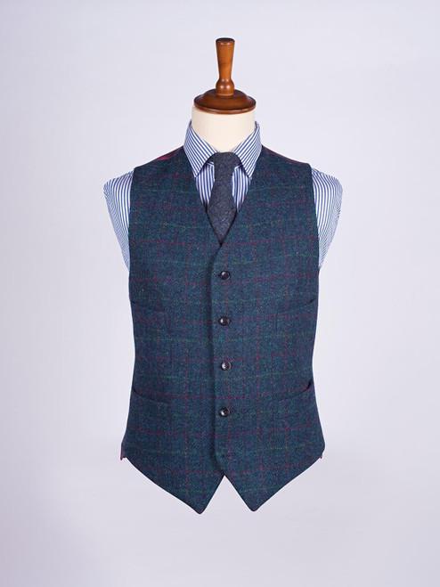 Image of Mens Marine Blue Harris Tweed 3 Piece Suit Vest