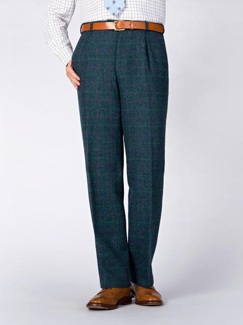 Image of Mens Marine Blue Harris Tweed 3 Piece Suit Pants