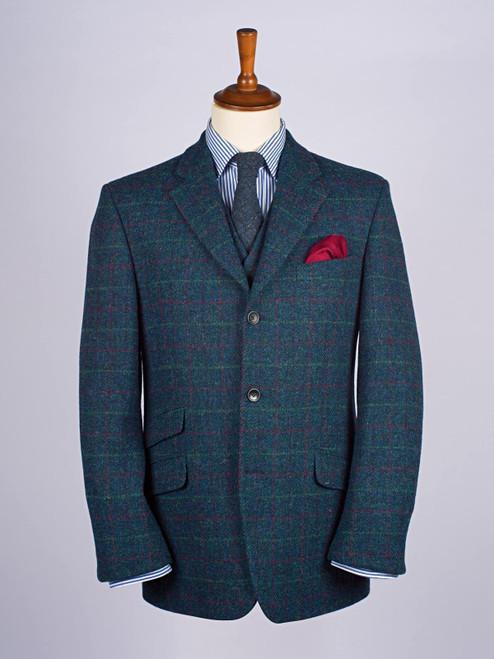 Image of Mens Marine Blue Harris Tweed 3 Piece Suit Jacket