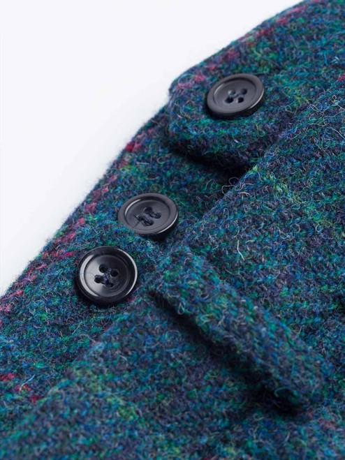 Close Up of Mens Marine Blue Harris Tweed 3 Piece Suit Pants Fabric