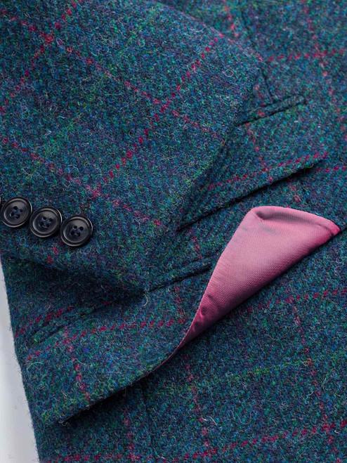 Close Up of Mens Marine Blue Harris Tweed 3 Piece Suit Jacket Detail