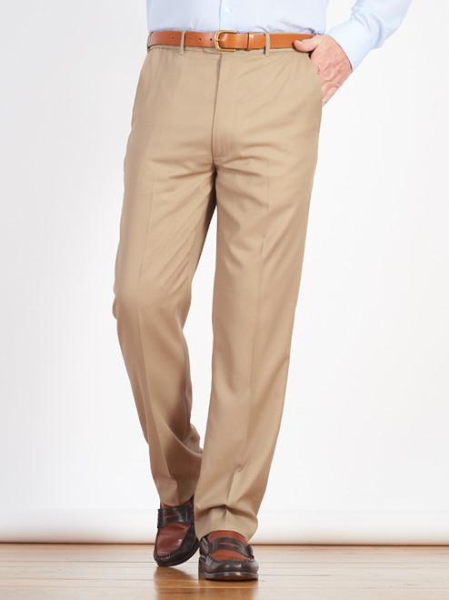 Model wears Luxury Beige Wool Crepe Pants
