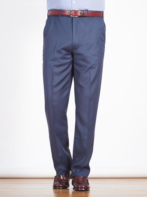 Model wears Luxury Navy Wool Crepe Pants