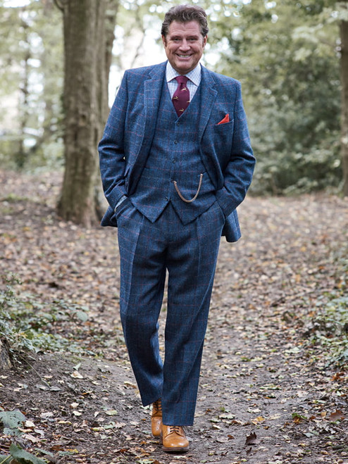 Image of Mens Slate Blue Harris Tweed 3 Piece Suit