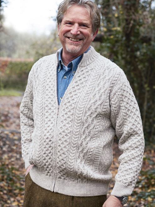 Pure Wool Aran Zip-Up Cardigan