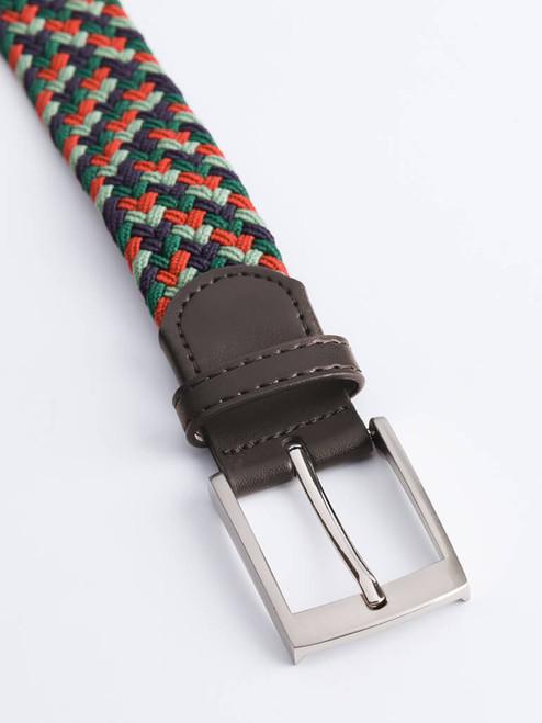 Close Up of Green Woven Elastic Belt Buckle