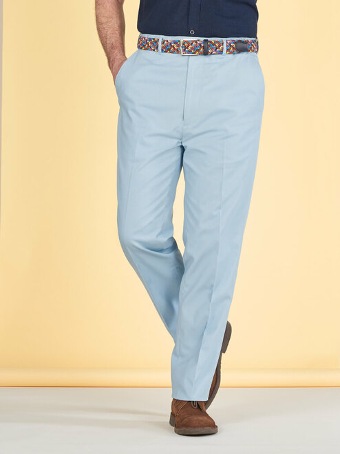 Image of Mens Sky Blue Flat Front Chinos