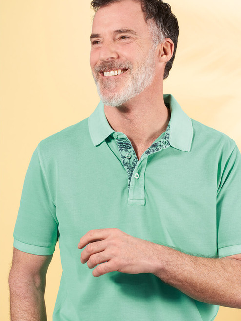 Model wears Mint Washed Polo Shirt