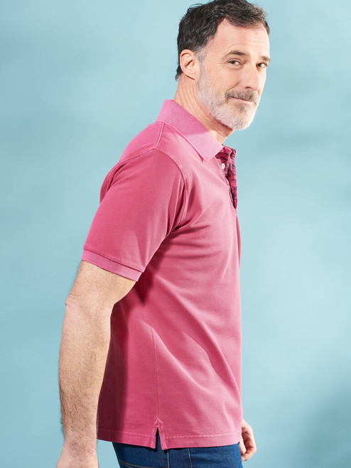 Model wears Dark Pink Washed Polo Shirt