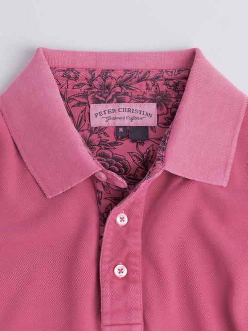Collar Dark Pink Washed Polo Shirt