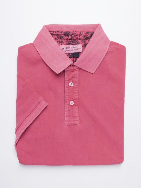 Dark Pink Washed Polo Shirt