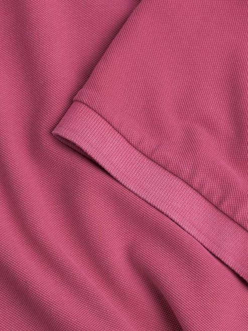 Ribbed sleeve Dark Pink Washed Polo Shirt
