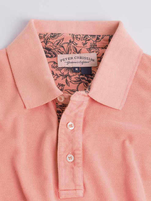 Close Up of Coral Pink Washed Polo Shirt Collar
