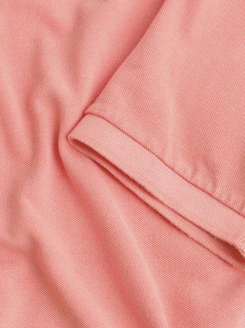Close Up of Coral Pink Washed Polo Fabric