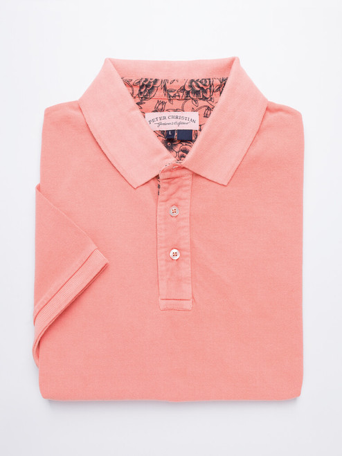Image of Coral Pink Washed Polo Shirt