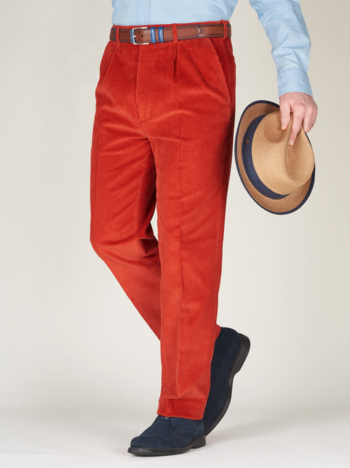 Image of Mens Orange Corduroy Pants
