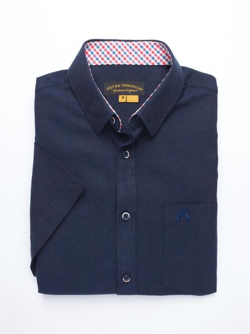 Navy Short Sleeve Linen and Cotton Shirt
