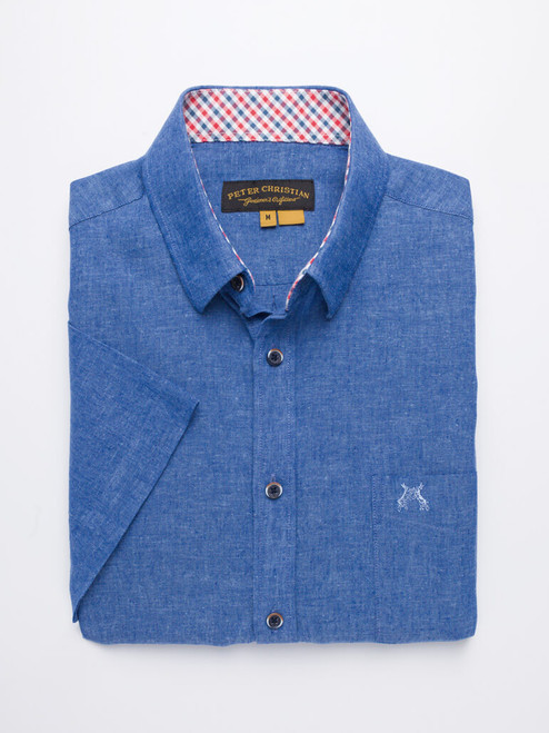 Cobalt Short Sleeve Linen and Cotton Shirt