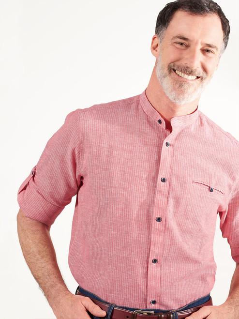 Model wears Red Linen & Cotton Grandad Shirt