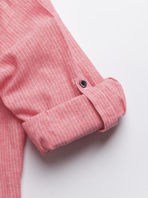 Tab sleeve on the Red Linen & Cotton Grandad Shirt