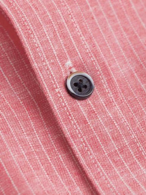 Close Up of Red Linen & Cotton Grandad Shirt