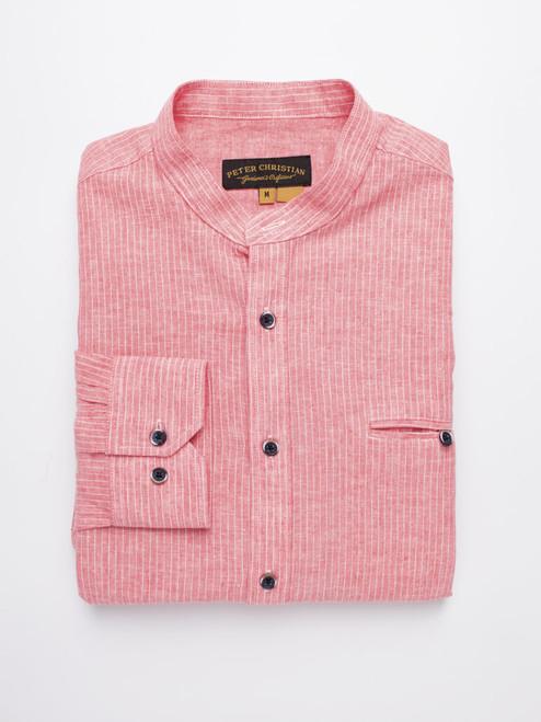 Red Linen & Cotton Grandad Shirt