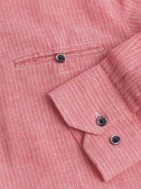 Adjustable button cuff on the Red Linen & Cotton Grandad Shirt