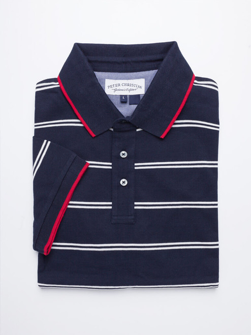 Image of Navy Stripe Original Polo Shirt