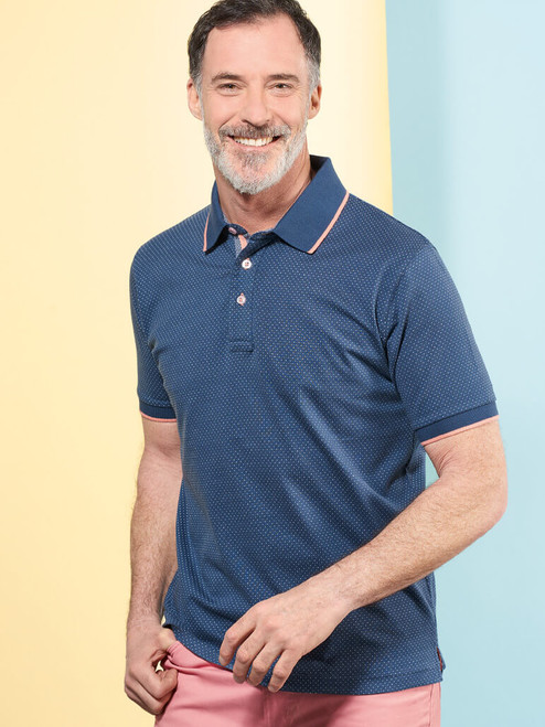 Model Wearing Blue Dot Original Polo Shirt