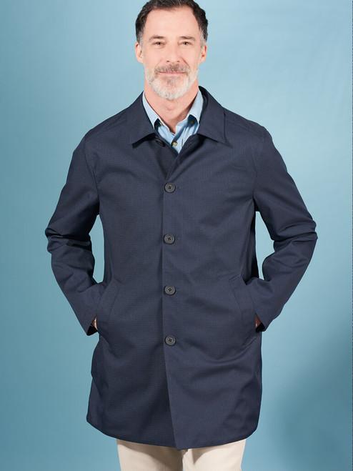 Model Wearing Check/Navy Weatherwear Reversible Raincoat