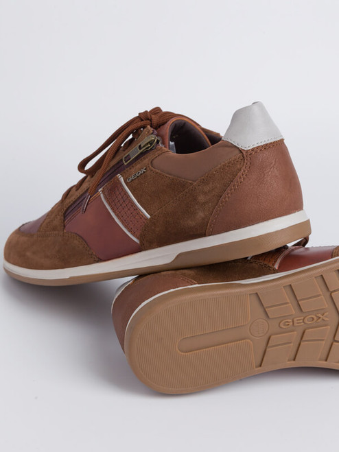 Breathable Sole of Brown Geox Renan Zip & Lace Trainer